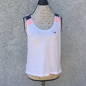 Victoria's Secret Pink White Muscle Tee Tank Top